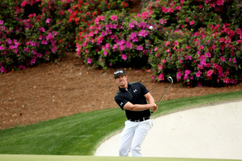 Hunter Mahan shows off his short game at Augusta National.