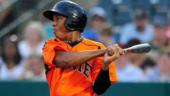 Jonathan Schoop is Baltimore's top position player, but an unrefined approach and impatience in Triple-A could force the team to drop him back to Bowie. Courtesy of Kevin Pataky, MiLB.com