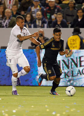CARSON, CA - JULY 24: Kyle Walker #28 of the Tottenham Hotspur chases Jose Villarreal #33 of Los Angeles Galaxy during the second half of the international friendly match at The Home Depot Center on July 24, 2012 in Carson, California. The game ended in a