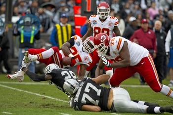 Jamaal Charles was knocked off his feet a lot when he played the Raiders.