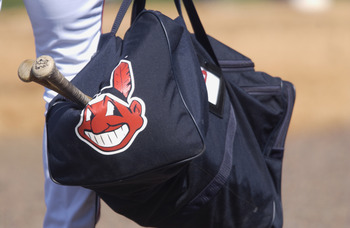 28 Feb 2002: A picture of the Cleveland Indians logo printed on a bag during the spring training game between the Minnesota Twins and the Cleveland Indians at Chain of Lakes Park in Winter Haven, Florida. The Twins won 6-4. DIGITAL IMAGE. Mandatory Credit
