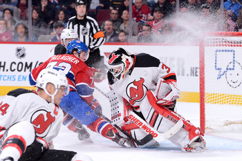 Montreal Canadien Brendan Gallagher tries to beat Martin Brodeur.