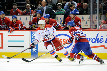 Montreal Canadien Josh Gorges and Washington Capital Alexander Ovechkin.
