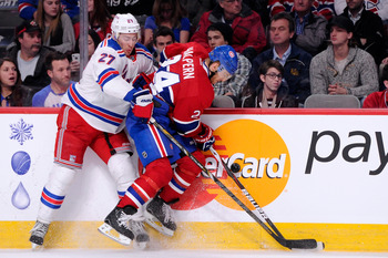 New York Ranger Ryan McDonagh and Montreal Canadien Jeff Halpern.