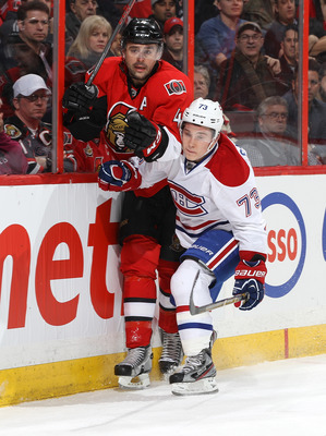 Ottawa Senator Chris Phillips and Montreal Canadien Brendan Gallagher.