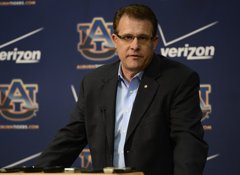Gus Malzahn at the pre-spring press conference. Photo credit: Todd Van Emst / AU media relations