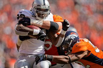 The Broncos have had trouble wrangling Darren McFadden in the past.