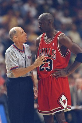 23 May, 1998:  Michael Jordan #23 of the Chicago Bulls confronts NBA Referee Dick Bavetta during the NBA Eastern Conference Finals at the Market Square Arena in Indianapolis, Indiana.  The Pacers defeated Bulls 107-105. Mandatory Credit: Vincent Laforet