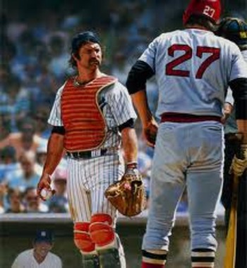 Fisk (left) was constantly at odds with Yankee captain Thurman Munson (right). Photo courtesy of Legendarysportsprints.com