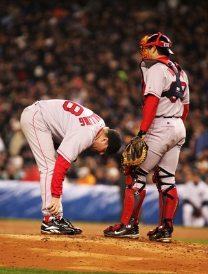"Curt Schilling amazed spectators and players alike in the famous ""bloody sock game"" against the Yankees."
