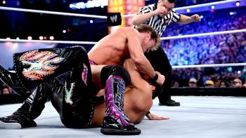 Chris Jericho Strikes Fandango on the Mat at WrestleMania 29 (photo courtesy of WWE.com)