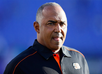 BALTIMORE, MD - SEPTEMBER 10:  Head coach Marvin Lewis of the Cincinnati Bengals looks on before taking on the Baltimore Ravens at M&T Bank Stadium on September 10, 2012 in Baltimore, Maryland.  (Photo by Rob Carr/Getty Images)