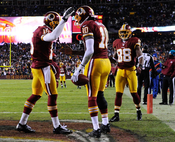 The Redskins celebrate a crucial touchdown.