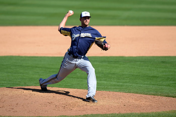 Mar 6, 2013; Peoria, AZ, USA; Milwaukee Brewers relief pitcher Johnny Hellweg (71) pitches during the fifth inning against the Seattle Mariners at Peoria Sports Complex. Mandatory Credit: Jake Roth-USA TODAY Sports
