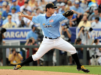 July 8, 2012; Kansas City, MO, USA; USA pitcher Gerrit Cole delivers a pitch during the second inning of the 2012 All Star Futures Game at Kauffman Stadium.  Mandatory Credit: Denny Medley-USA TODAY Sports