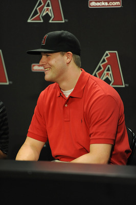 PHOENIX, AZ - JUNE 18:  The Arizona Diamondbacks' first pick in this year's draft Archie Bradley, from Broken Arrow Oklahoma, speaks with the local press before a game against the Chicago White Sox at Chase Field on June 18, 2011 in Phoenix, Arizona.  (Ph