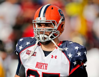 Syracuse's Justin Pugh could kick inside to offensive guard in the NFL.