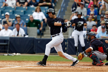This was one of the rare instances of Derek Jeter playing in a game this season, during spring training.