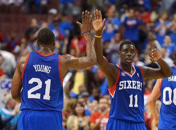 Jrue Holiday (right) and to a lesser extent Thaddeus Young are all the Sixers really have.