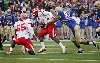 TULSA, OK - NOVEMBER 25:  Defensive back D.J. Hayden #2 of the Houston Cougars runs after a  fumble recovery in the first half against the Tulsa Hurricanes November 25, 2011 at H.A. Chapman Stadium in Tulsa, Oklahoma.  Houston defeated Tulsa 48-16.  (Phot