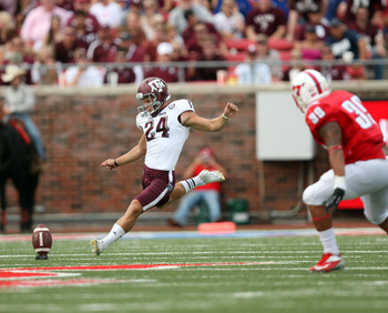 Tayor Bertolet kicks off vs. SMU