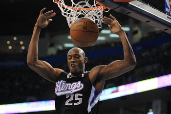 Apr 15, 2013; Oklahoma City, OK, USA; Sacramento Kings forward Travis Outlaw (25) dunks the ball against the Oklahoma City Thunder during the first half at Chesapeake Energy Arena. Mandatory Credit: Mark D. Smith-USA TODAY Sports