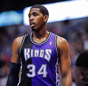 Feb 13, 2013; Dallas, TX, USA; Sacramento Kings power forward Jason Thompson (34) waits for play to resume during the game against the Dallas Mavericks at the American Airlines Center. The Mavericks defeated the Kings 123-100.  Mandatory Credit: Jerome Mi