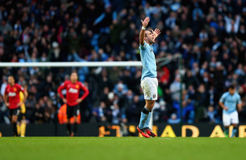 Pablo Zabaleta celebrates his goal against Manchester United.