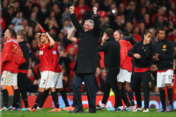 Sir Alex Ferguson and Manchester United celebrate winning their 13th English Premier League championship on Monday at Old Trafford.