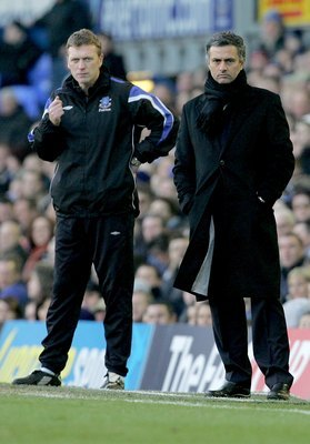 Everton's David Moyes (left) and Real Madrid's Jose Mourinho (right), shown here with Chelsea in 2008, are two of the three men on Chelsea's short list of managerial candidates next season.