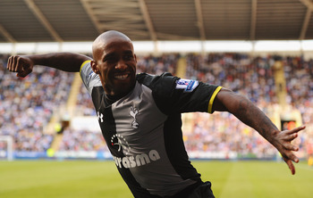 Defoe celebrates scoring a brace against Reading in September.
