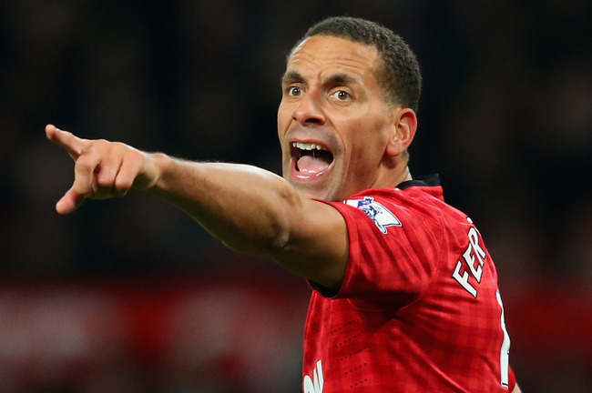 MANCHESTER, ENGLAND - APRIL 08:  Rio Ferdinand of Manchester United gestures during the Barclays Premier League match between Manchester United and Manchester City at Old Trafford on April 8, 2013 in Manchester, England.  (Photo by Alex Livesey/Getty Imag