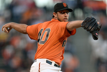 Lefty Madison Bumgarner leads the Giants in ERA and innings pitched.