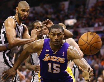 Metta World Peace hustles as hard as anyone on the floor.