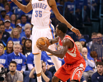 OKLAHOMA CITY, OK - APRIL 21:  Kevin Durant #35 of the Oklahoma City Thunder defends against Patrick Beverley #12 of the Houston Rockets during the first half of Game One of the Western Conference Quarterfinals of the 2013 NBA Playoffs at Chesapeake Energ