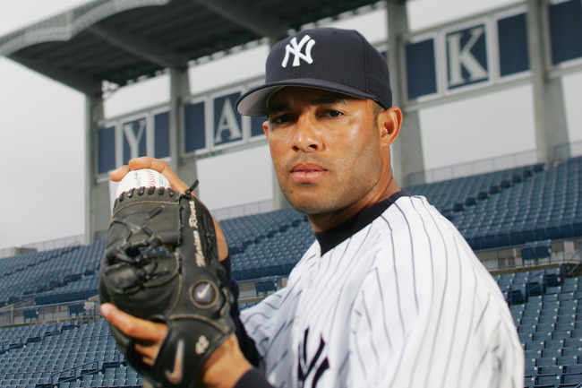 TAMPA, FL - FEBRUARY 25:  Mariano Rivera of the New York Yankees poses for a portrait during Yankees Photo Day at Legends Field on February 25, 2005 in Tampa, Florida. (Photo by Ezra Shaw/Getty Images)
