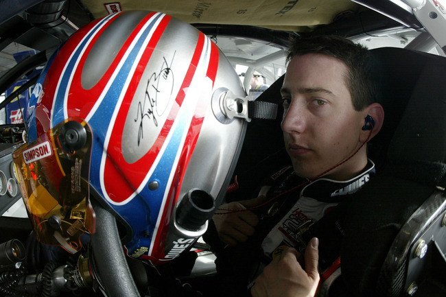 DAYTONA BEACH, FL - FEBRUARY 12:  Kyle Busch sits in his #5 Lowe's Chevrolet during practice for the Busch Grand National Hershey's Kisses 300 on February 12, 2004 at Daytona International Speedway in Daytona Beach, Florida. (Photo by Jonathan Ferrey/Gett