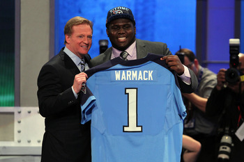 Apr 25, 2013; New York, NY, USA; NFL commissioner Roger Goodell introduces offensive guard Chance Warmack (Alabama) as the tenth overall pick of the 2013 NFL Draft by the Tennessee Titans at Radio City Music Hall. Mandatory Credit: Brad Penner-USA TODAY S