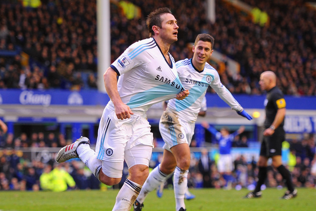 LIVERPOOL, ENGLAND - DECEMBER 30:  Frank Lampard of Chelsea celebrates scoring his team's second goal to make the score 1-2 during the Barclays Premier League match between Everton and Chelsea at Goodison Park on December 30, 2012 in Liverpool, England.