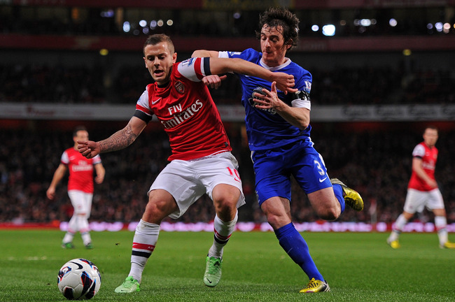 LONDON, ENGLAND - APRIL 16:  Jack Wilshere of Arsenal and Leighton Baines of Everton battle for the ball during the Barclays Premier League match between Arsenal and Everton at Emirates Stadium on April 16, 2013 in London, England.  (Photo by Michael Rega
