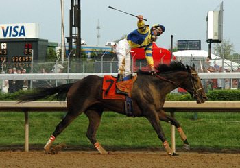 Calvin Borel winning his first Kentucky Derby aboard Street Sense in 2007.