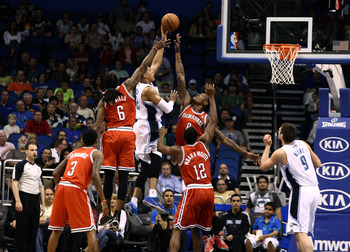 Orlando's Tobias Harris puts up a shot against his former team, the Milwaukee Bucks, who dealt him at the trade deadline to the Magic
