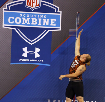 Chadron State's offensive guard Garrett Gilkey at the NFL Scouting Combine