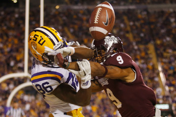 BATON ROUGE, LA - NOVEMBER 10:  Darius Slay #9 of the Mississippi State Bulldogs breaks up a pass intended for Kadron Boone #86 of the LSU Tigers at Tiger Stadium on November 10, 2012 in Baton Rouge, Louisiana.  The Tigers defeated the Bulldogs 37-17.  (P