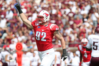 DALLAS, TX - SEPTEMBER 15:  Margus Hunt #92 of the Southern Methodist Mustangs at Gerald J. Ford Stadium on September 15, 2012 in Dallas, Texas.  (Photo by Ronald Martinez/Getty Images)