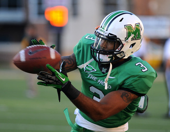 October 20, 2012; Hattiesburg, MS, USA; Marshall Thundering Herd wide receiver Aaron Dobson (3) before the game against the Southern Miss Golden Eagles at M.M. Roberts Stadium. Mandatory Credit: Chuck Cook-USA TODAY Sports