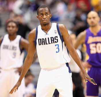 DALLAS, TX - NOVEMBER 24:  Rodrigue Beaubois #3 of the Dallas Mavericks at American Airlines Center on November 24, 2012 in Dallas, Texas.  NOTE TO USER: User expressly acknowledges and agrees that, by downloading and or using this photograph, User is con