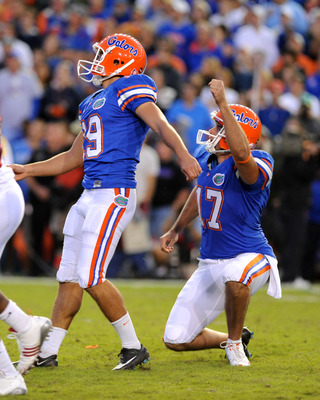 Caleb Sturgis nails the final field goal to beat the Razorbacks in 2009.
