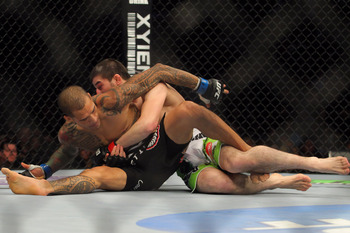 Yancy Medeiros broke his thumb, leading to an unfortunate end to his fight.