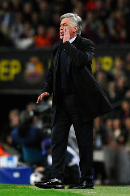 BARCELONA, SPAIN - APRIL 10: Head Coach Carlo Ancelotti of PSG shouts instructions during the UEFA Champions League quarter-final second leg match between Barcelona and Paris St Germain at Nou Camp on April 10, 2013 in Barcelona, Spain.  (Photo by David R